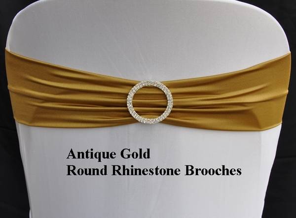 Antique Gold Spandex Bands With Round Rhinestone Brooches