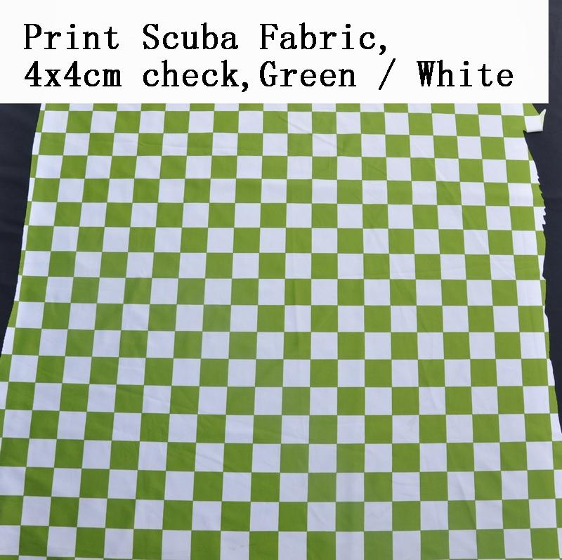 Print Scuba Fabric 4x4cm Check Green White Chair Cover